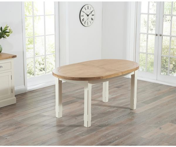 Mark Harris Cheyenne Oval Oak and Cream Extending Dining Table Only