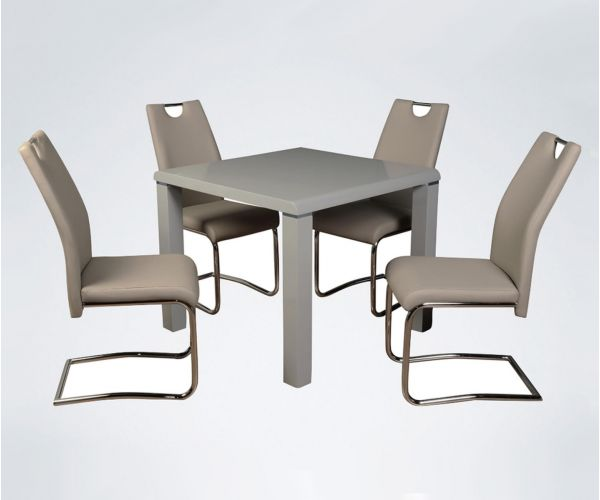 Annaghmore Clarus Grey Small Dining Table with 4 Claren Khaki Chairs