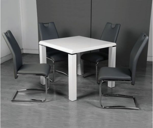 Annaghmore Clarus White Small Dining Table with 4 Claren Grey Dining Chairs