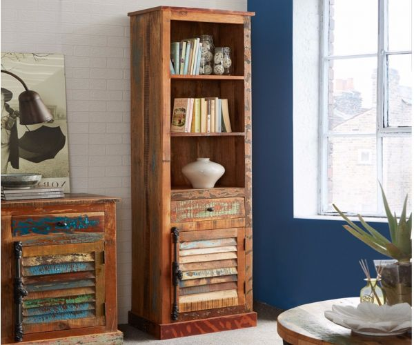 Indian Hub Coastal Reclaimed Wood Narrow Bookcase