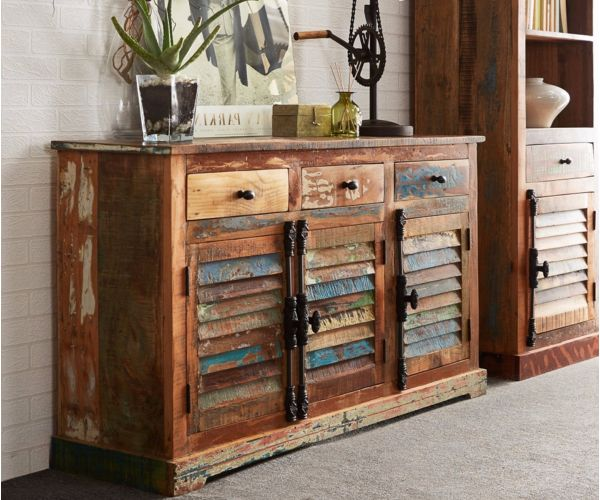 Indian Hub Coastal Reclaimed Wood Large Sideboard