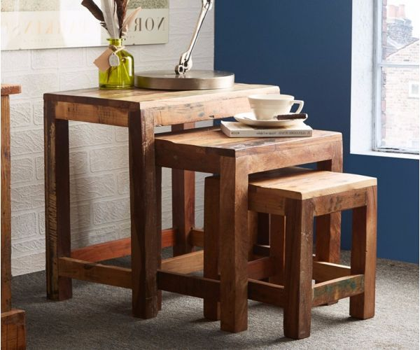 Indian Hub Coastal Reclaimed Wood Nest of 3 Tables