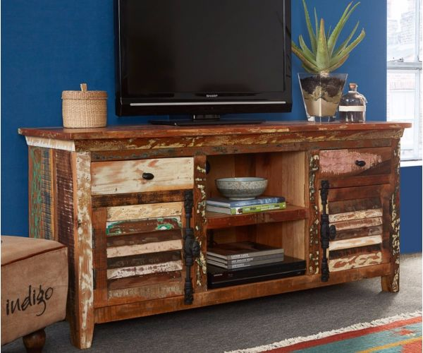 Indian Hub Coastal Reclaimed Wood Large TV Multi Media Unit