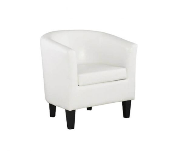 Annaghmore Colby White Faux Leather Tub Chair