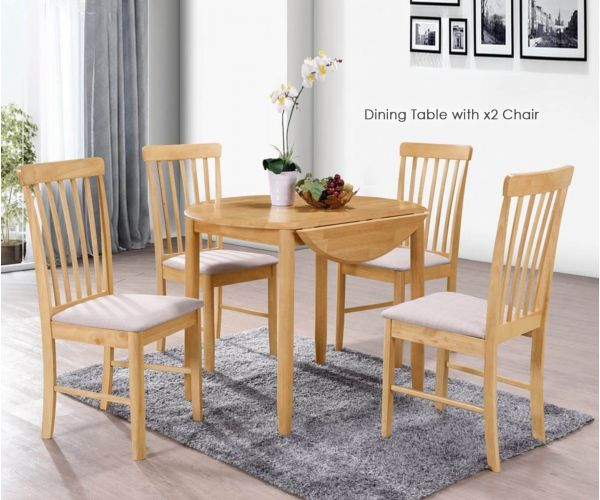 Annaghmore Cologne Light Oak Round Drop Leaf Dining Table with 2 Chairs