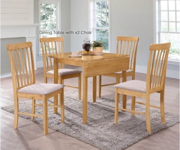Annaghmore Cologne Light Oak Square Drop Leaf Dining Table with 2 Chairs