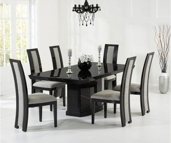 Mark Harris Como Black Constituted Marble Dining Table with 6 Rivilino Chairs