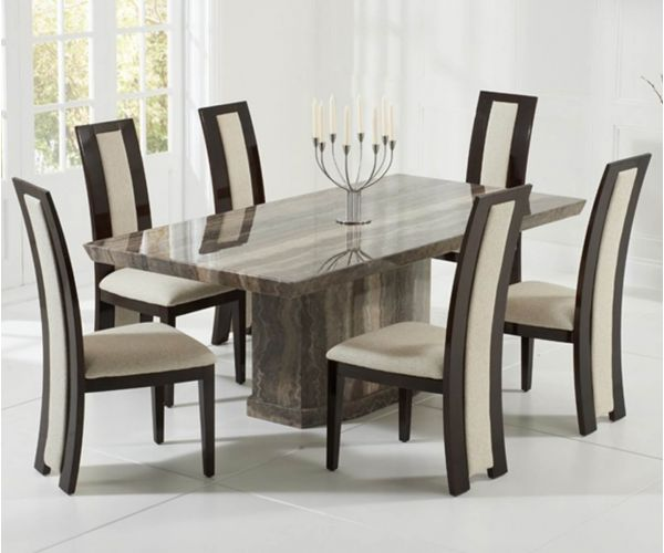 Mark Harris Como Brown Constituted Marble Dining Table with 6 Rivilino Chairs