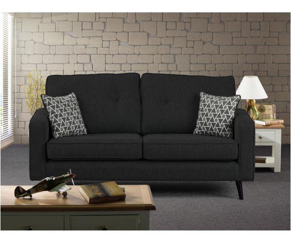 Sweet Dreams Cortona Charcoal Fabric 3 Seater Chaise Sofa