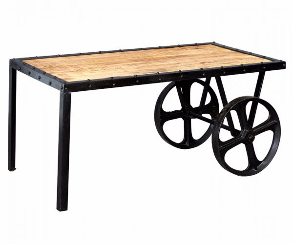 Indian Hub Cosmo Industrial Cart Coffee Table