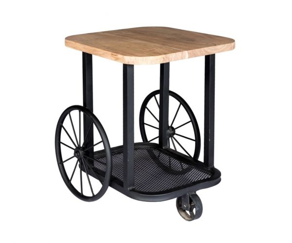 Indian Hub Craft Wheel End Table