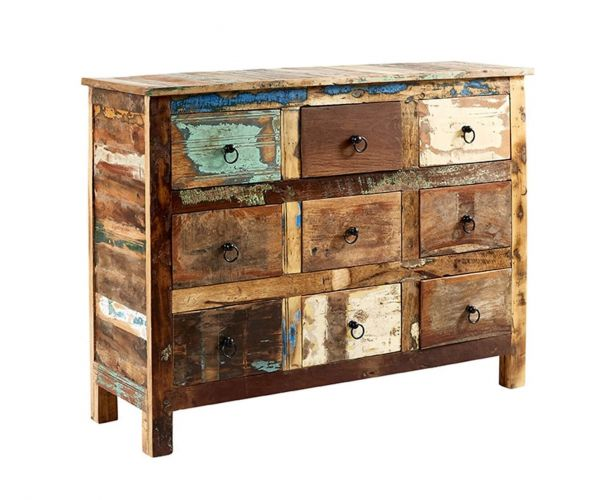 Indian Hub Coastal Reclaimed Wood 9 Drawer Chest