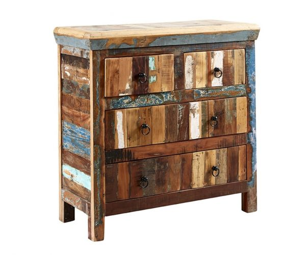 Indian Hub Coastal Reclaimed Wood 4 Drawer Chest