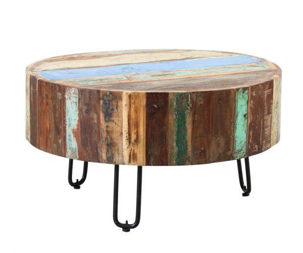 Indian Hub Coastal Reclaimed Wood Round Drum Coffee Table