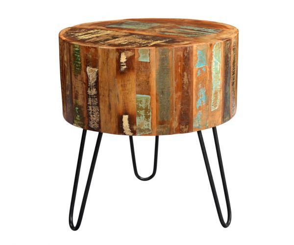 Indian Hub Coastal Reclaimed Wood Drum Side Table