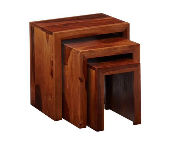 Indian Hub Cube Sheesham Nest of 3 Tables