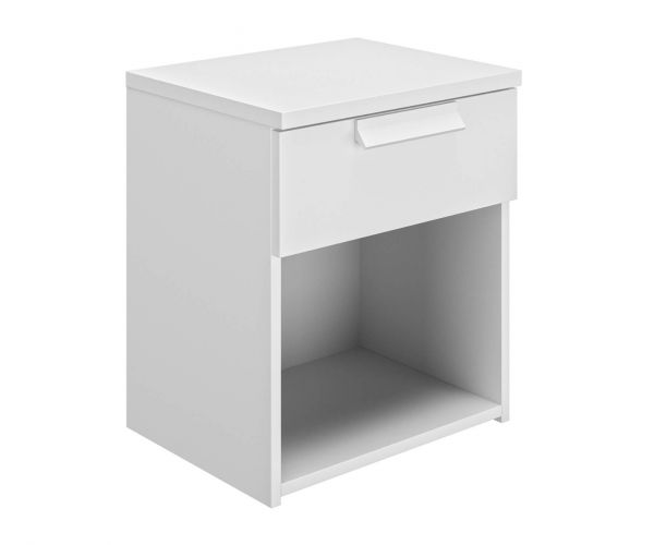 Gami Cyrus White 1 Drawer Bedside Table
