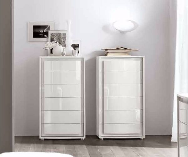 Camel Group Dama Binaca White High Gloss 6 Drawer Chest