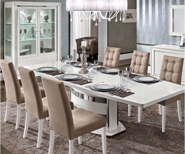 Camel Group Dama Binaca White High Gloss Extending Dining Table with 6 Chairs