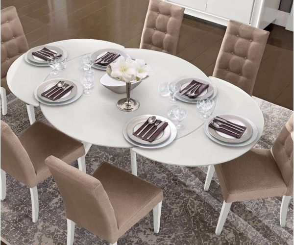 Camel Group Dama Binaca White High Gloss Round Extending Dining Table with 6 Chairs