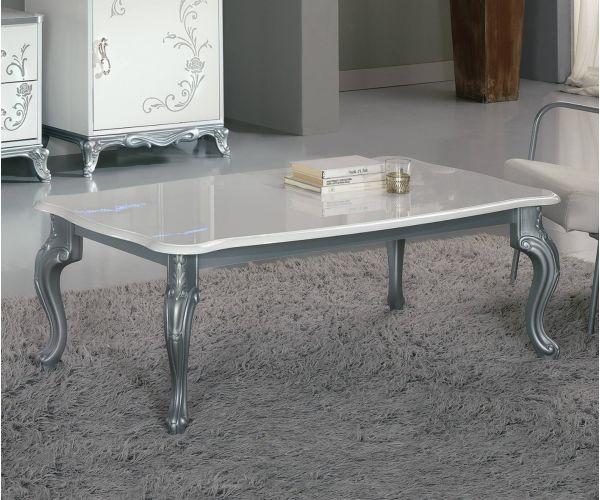 Ben Company Daniela White and Silver Italian Coffee Table
