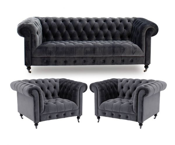 Vida Living Darby Grey Fabric 3+1+1 Sofa Set