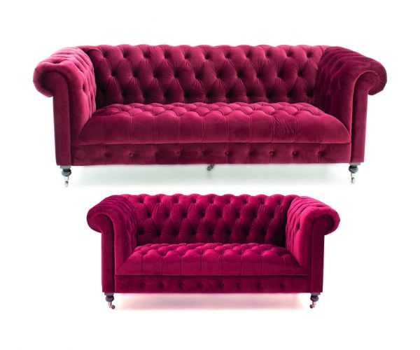 Vida Living Darby Berry Fabric 3+2 Sofa Set
