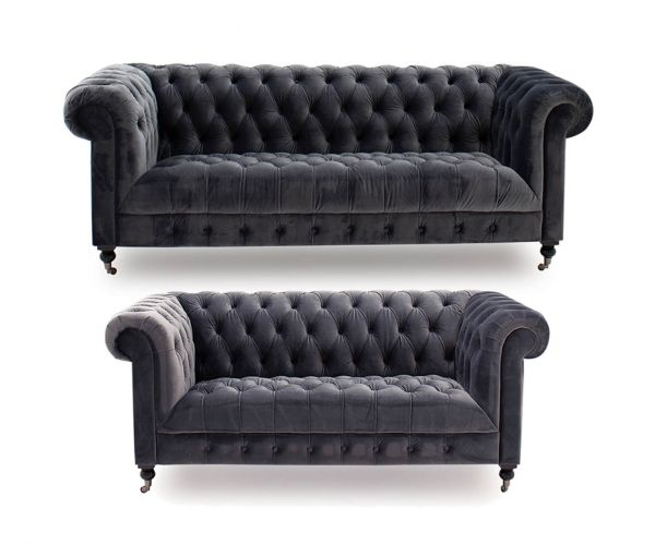 Vida Living Darby Grey Fabric 3+2 Sofa Set