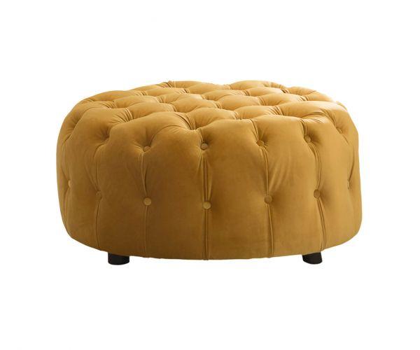 Vida Living Darby Mustard Fabric Round Footstool