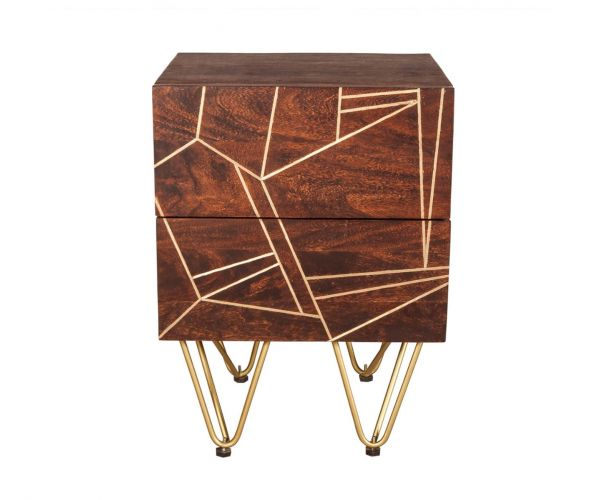 Indian Hub Dark Gold 2 Drawer Side Table