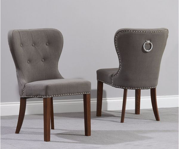 Mark Harris Kalim Grey Solid Dark Oak and Fabric Dining Chair in Pair