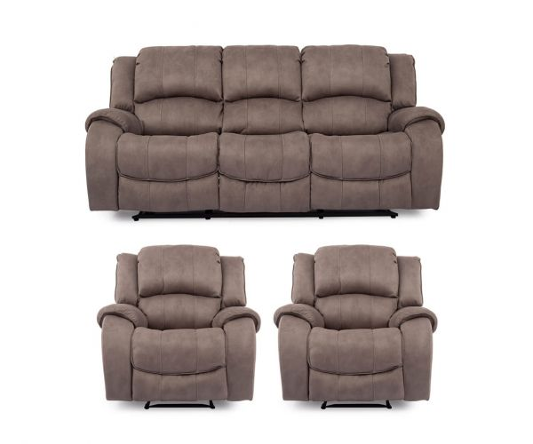 Vida Living Darwin Fabric 3+1+1 Recliner Sofa Set - Smoke