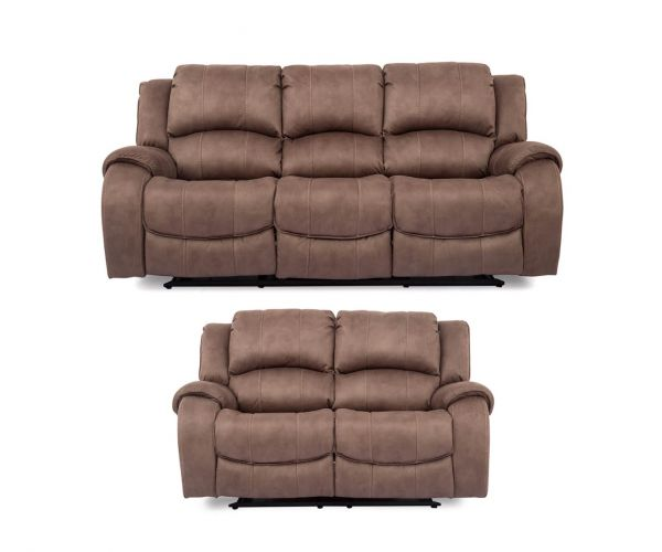 Vida Living Darwin Fabric 3+2 Recliner Sofa Set - Biscuit