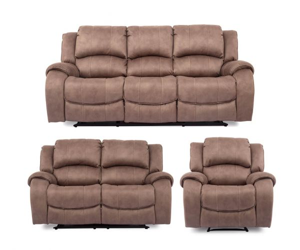 Vida Living Darwin Fabric 3+2+1 Recliner Sofa Set - Biscuit