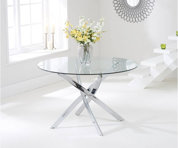 Mark Harris Daytona Glass Round Dining Table Only