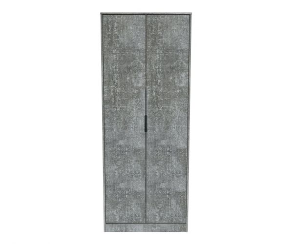 Welcome Furniture Diego Pewter Finish 2 Door Wardrobe with Black Metal Legs