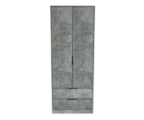 Welcome Furniture Diego Pewter Finish 2 Drawer Wardrobe with Black Metal Legs