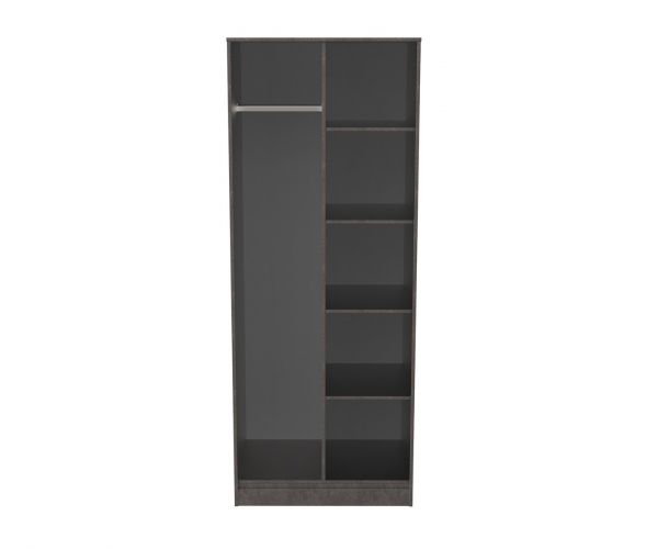 Welcome Furniture Diego Pewter Finish Open Shelf Wardrobe with Black Metal Legs
