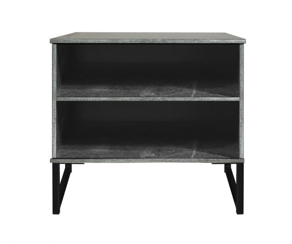 Welcome Furniture Diego Pewter Finish Double Open Locker with Black Metal Legs