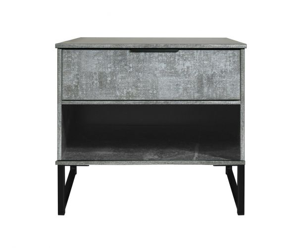 Welcome Furniture Diego Pewter Finish Double 1 Drawer Locker with Black Metal Legs