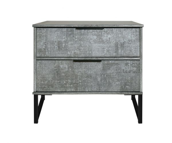 Welcome Furniture Diego Pewter Finish Double 2 Drawer Locker with Black Metal Legs