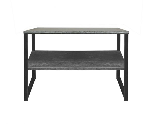 Welcome Furniture Diego Pewter Finish Lamp Table with Black Metal Legs