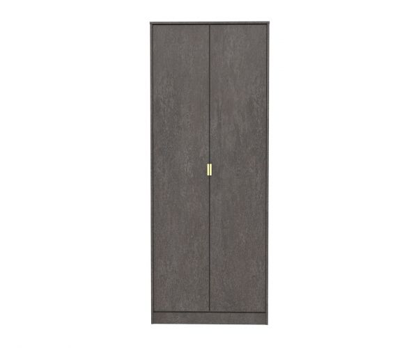 Welcome Furniture Diego Pewter Finish 2 Door Wardrobe with Gold Metal Legs