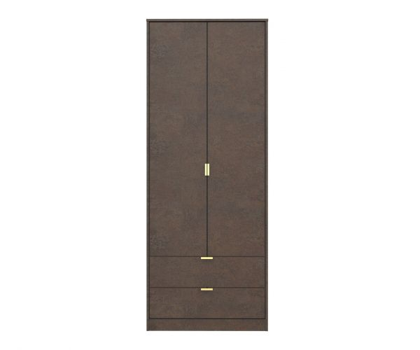 Welcome Furniture Diego Copper Finish 2 Drawer Wardrobe with Gold Metal Legs