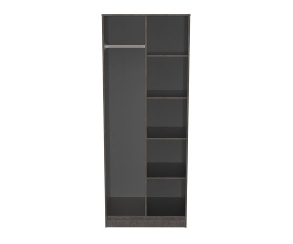 Welcome Furniture Diego Pewter Finish Open Shelf Wardrobe with Gold Metal Legs