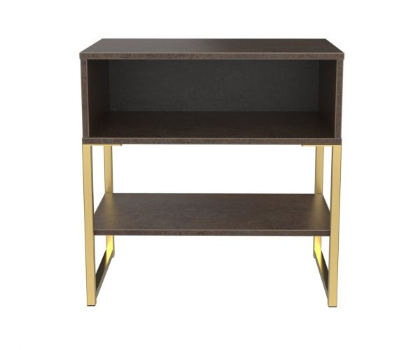 Welcome Furniture Diego Copper Finish Single Open Locker with Gold Metal Legs