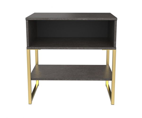 Welcome Furniture Diego Pewter Finish Single Open Locker with Gold Metal Legs