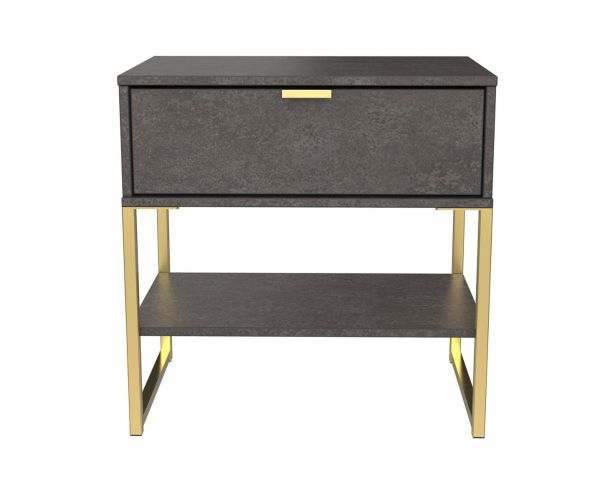 Welcome Furniture Diego Pewter Finish Single 1 Drawer Midi Locker with Gold Metal Legs