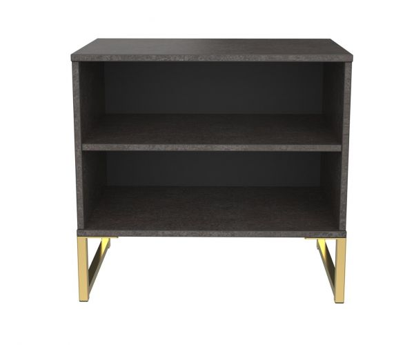 Welcome Furniture Diego Pewter Finish Double Open Locker with Gold Metal Legs