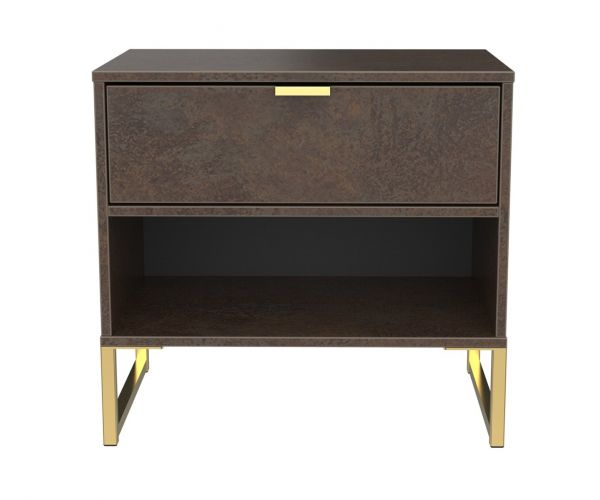 Welcome Furniture Diego Copper Finish Double 1 Drawer Locker with Gold Metal Legs
